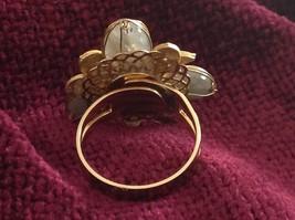 Adjustable Labradorite Stone Flower Ring Prudence C art for your finger image 6