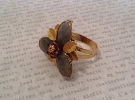 Adjustable Labradorite Stone Flower Ring Prudence C art for your finger image 7