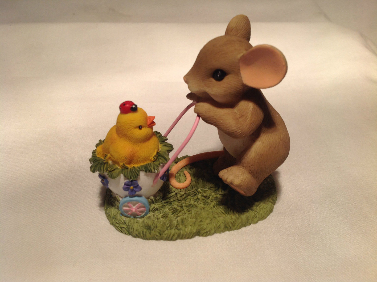 Mouse Pushing Cart Charming Tails Figurine Taking a Stroll with My Cute Chick