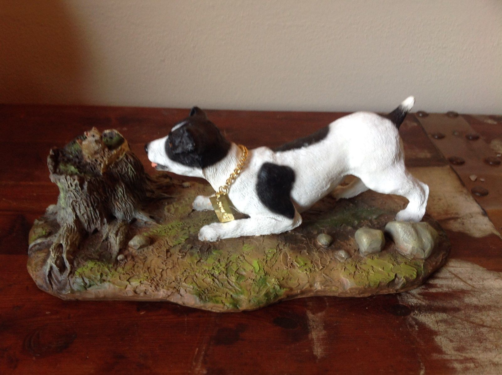 My Dog Figurine Hunting Dog Approaching Chipmunk on Tree Stump Jack Russell ?