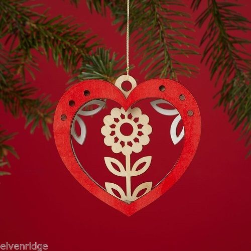 Laser Wood Ornament Flourish  Woodland Heart