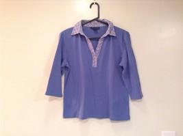 Lavender Blue Karen Scott Three Quarter Length Sleeves V Neck Top Size Medium