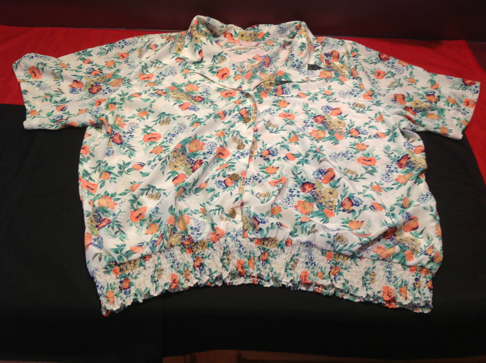 Lauren Lee Ladies Short Sleeve Floral (Salmon Green White) Blouse Size 21 Inch W