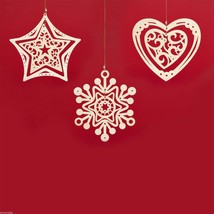 Laser Wood Ornament Flourish Set of three large spinners snowflake Heart Star