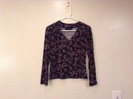 Laura Donini V Neck  Long Sleeve Top Black with Brown White Flowers Size S