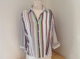 LeCaviar Green Tan Brown Striped Button Up Shirt V Neckline Collared Size M - $39.99