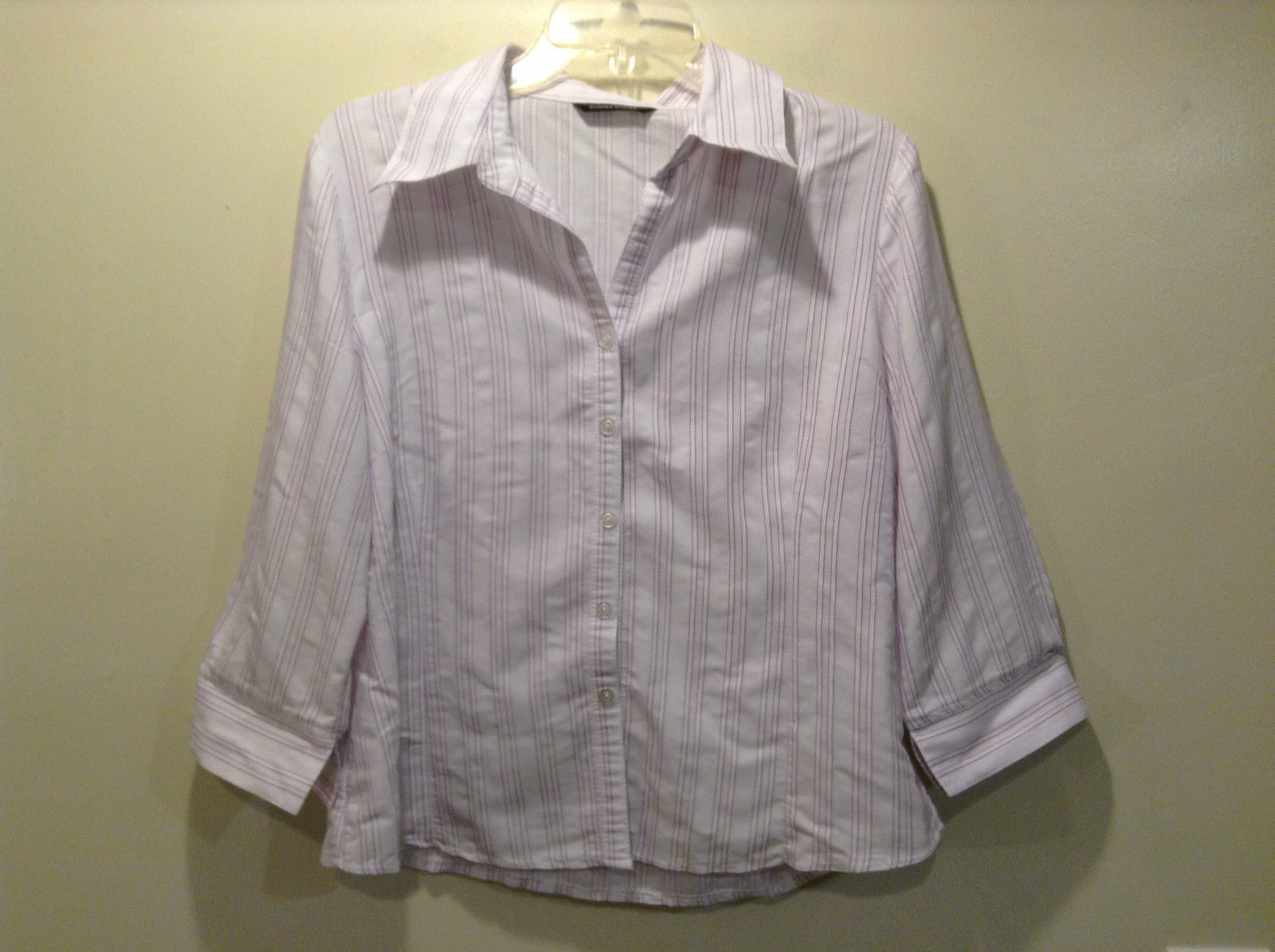Lavender White with Purple Stripes Button Down Shirt Dunnes Stores Size 16