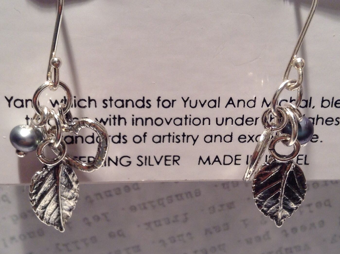 Leaf Heart Black Pearl Sterling Silver 925 Handmade Earrings Inspired by Nature