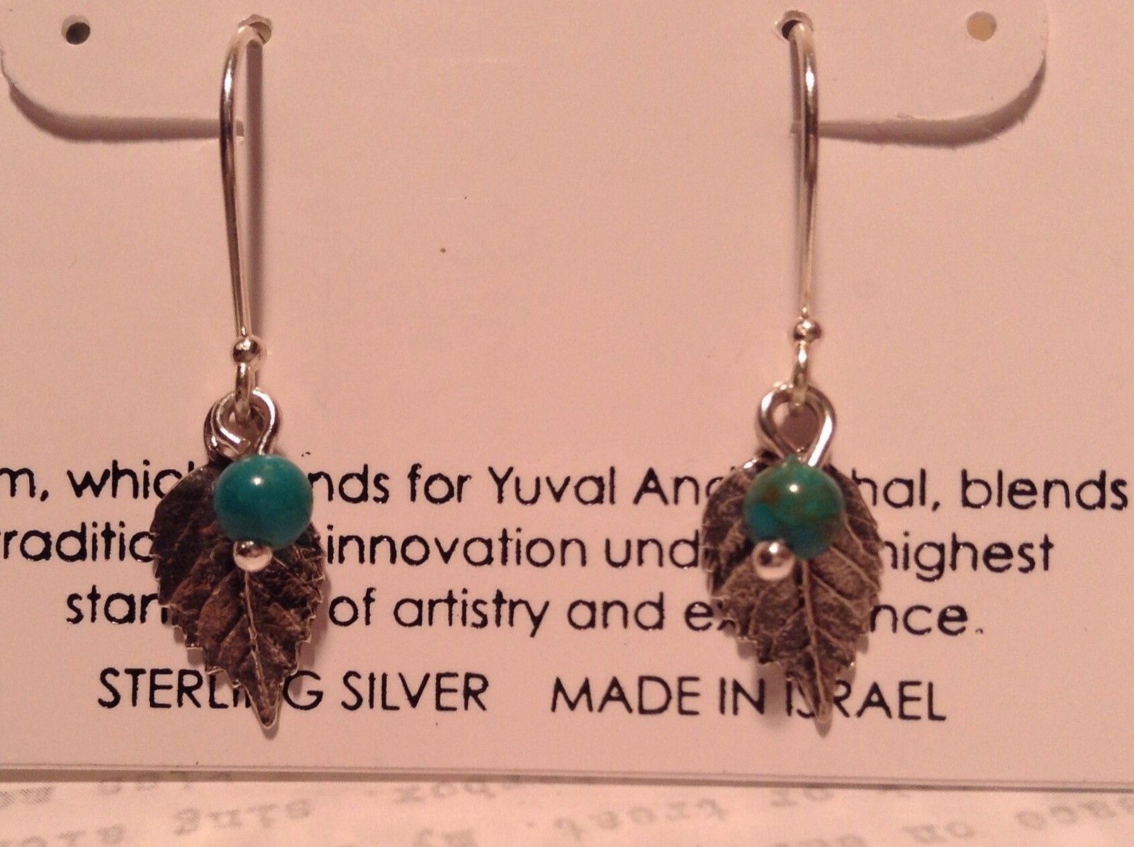 Leaf Semi Precious Turquoise Stone Earrings Sterling Silver Handmade