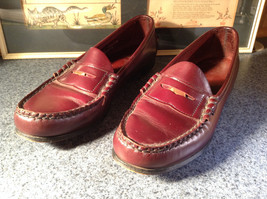 Leather Hand Sewn Penny Loafers Made in USA Size 7.5 See Pictures
