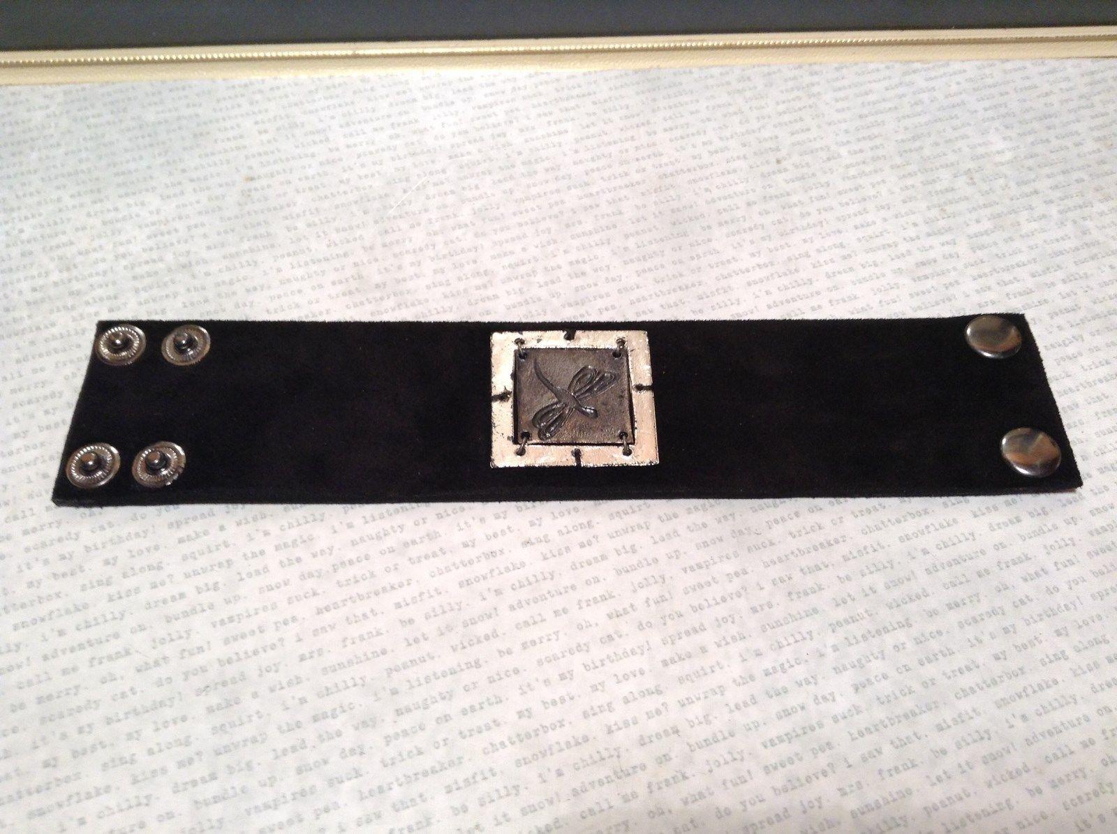 Leather Handcrafted Bracelet Pewter Base Metal Medallion Black Dragonfly