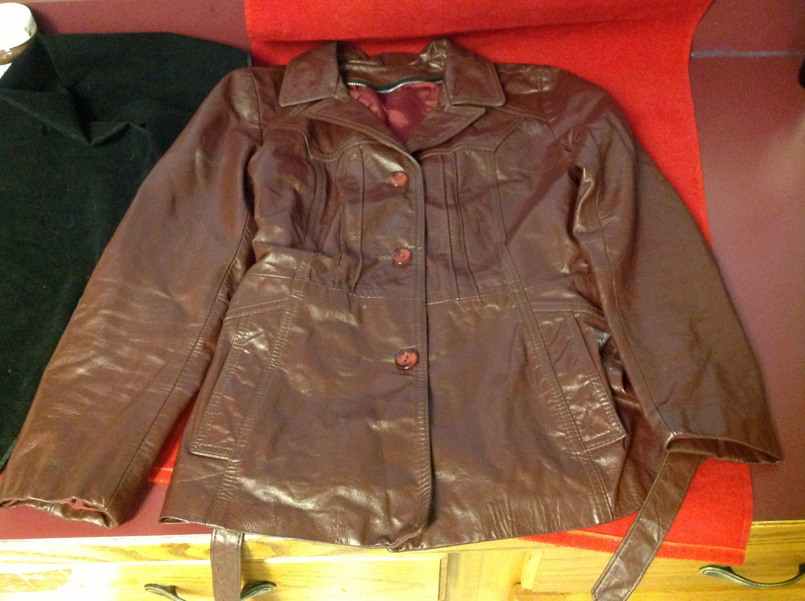 Leathercraft Process Brand Womens Burgundy Leather Jacket size Small Medium S M