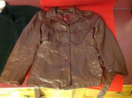 Leathercraft Process Brand Womens Burgundy Leather Jacket size Small Medium S M