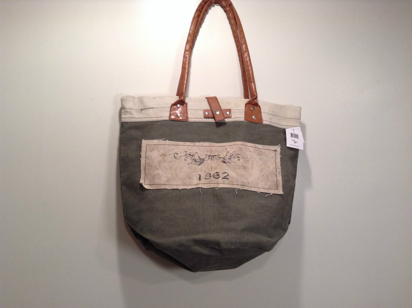 NEW 100% Recycled Cotton Khaki with Brown Straps Shoulder Bag