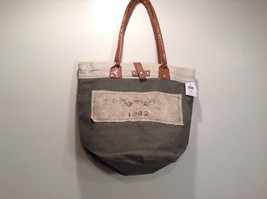 NEW 100% Recycled Cotton Khaki with Brown Straps Shoulder Bag image 1