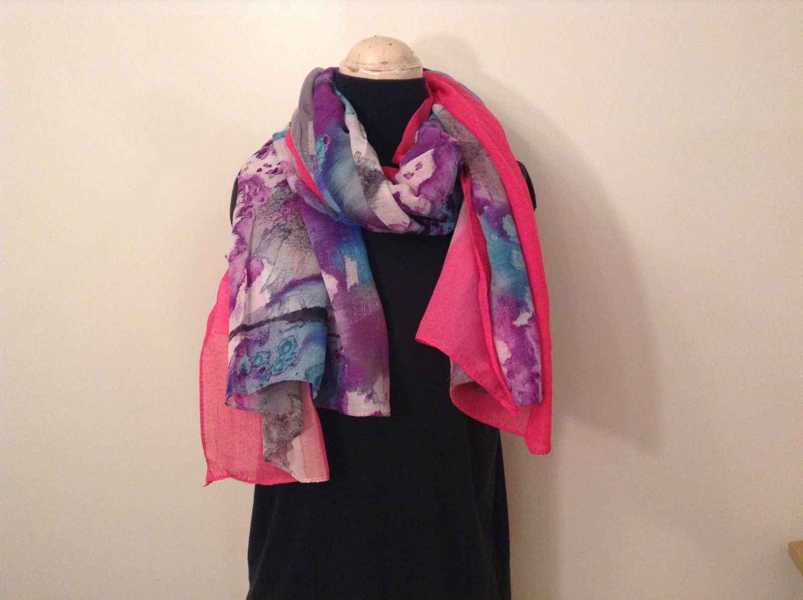 NEW Blue and Pink Shibori Tie Dye Scarf by MAD 100 Percent Polyester