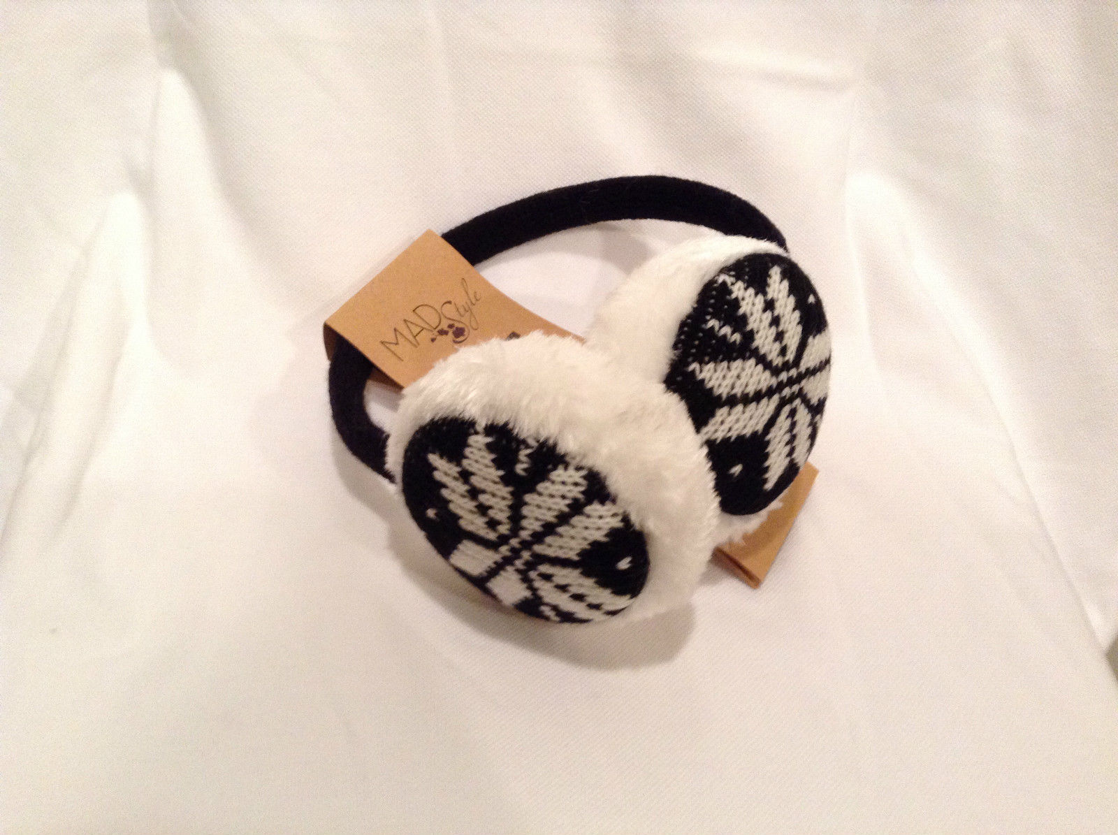 NEW Black White Ear Muffs Warmers Knit Faux Fur Inside Snowflake Design One Size