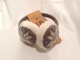 NEW Gray White Ear Muffs Warmers Knit Faux Fur Inside Snowflake Design One Size