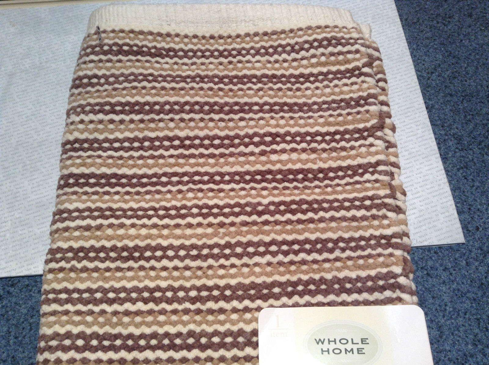 NEW Brown White and Tan Bath Rug by Whole Home 20 Inches by 32 Inches