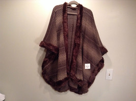 NEW Brown Faux Fur Trimmed Lux Cape One Size MAD Style