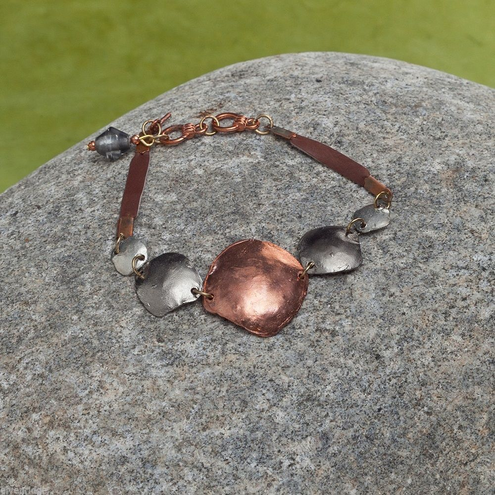NEW Copper Leather Disc Bracelet w silver and hematite accents