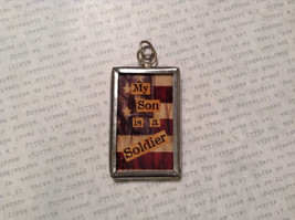 My Son is a Soldier USA Charm Present Tie On Reversible Tag Metal Glass Tag image 1