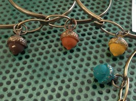 NEW bangle bracelet w Acorn Charm choice of color USA made