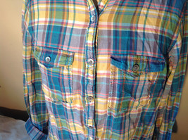 Aerie Plaid Button Down Long Sleeve Collared Shirt 2 Front Pockets Size Large image 3
