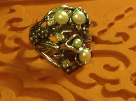 Nature Inspired Flower Butterfly Pearl Sterling Silver Ring Size Choice 7 or 8
