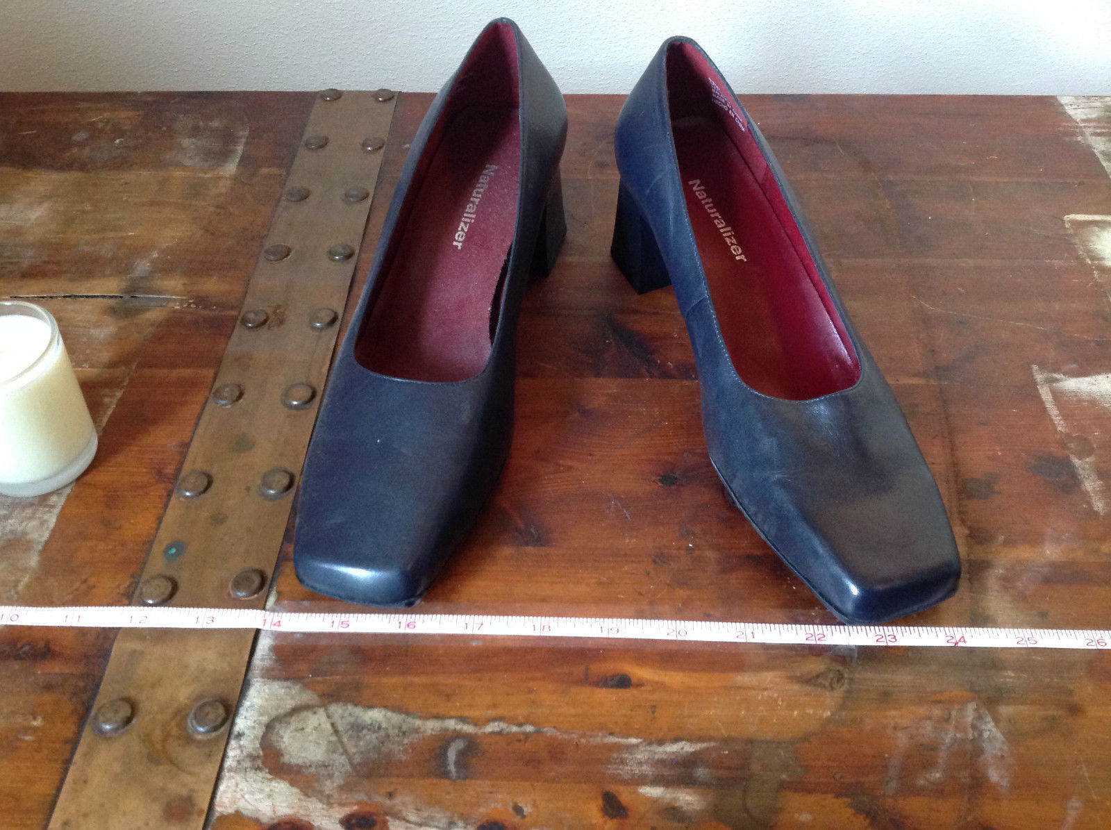 Naturalizer Size 8 and a Half Black Heeled Shoes with Red Interior