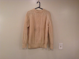 Natural White Pure Irish Wool Long Sleeve Sweater No Size Tag Measurements Below