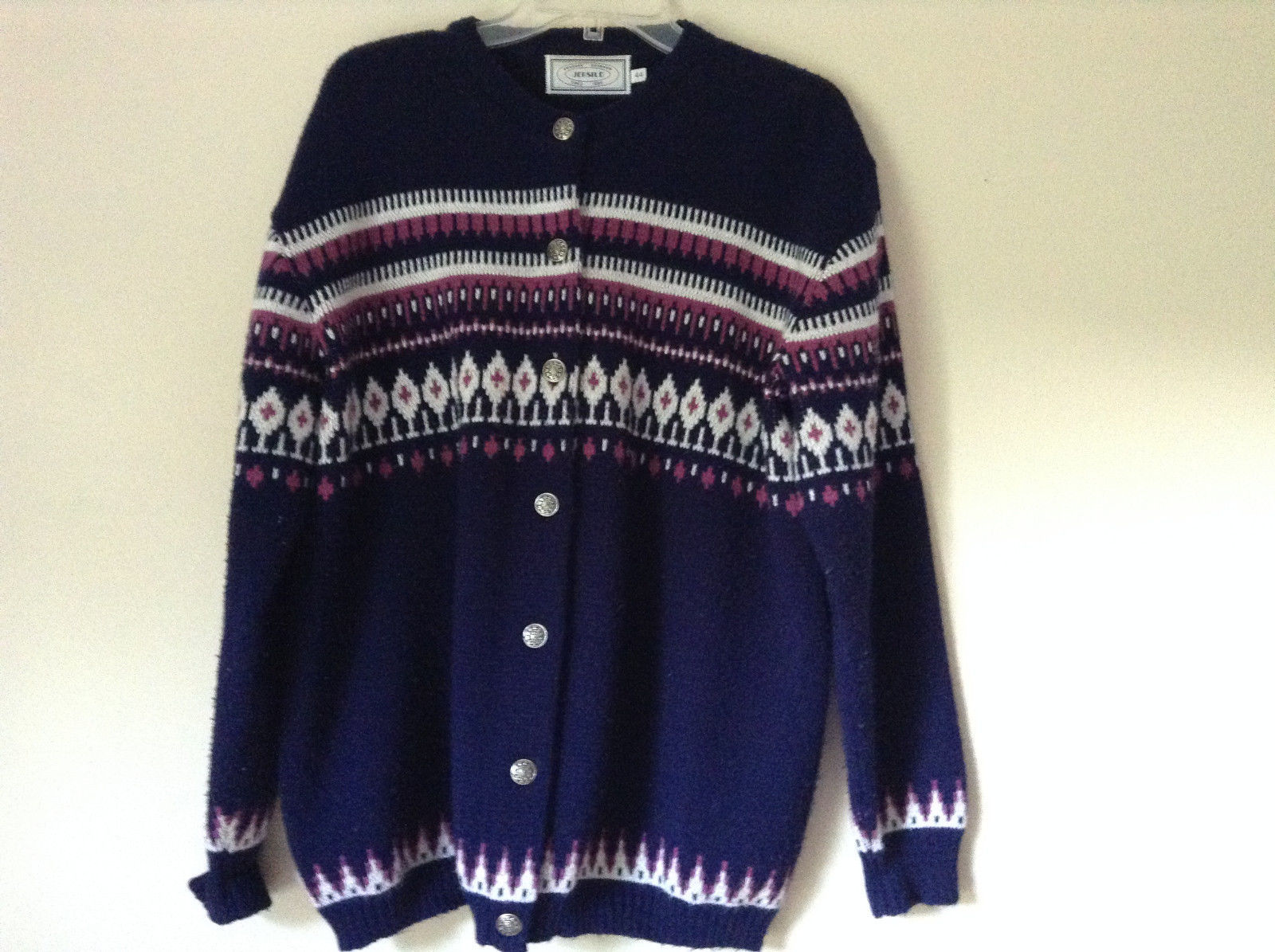 Navy Blue Button Down Sweater Design White and Violet by Jersilo Size 44
