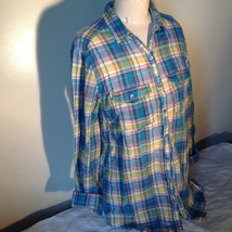 Aerie Plaid Button Down Long Sleeve Collared Shirt 2 Front Pockets Size Large image 4