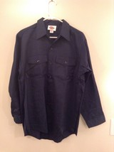 Navy Blue Button Up Long Sleeve Dickies Shirt Size 16 to 16.5 by 33 Made in USA