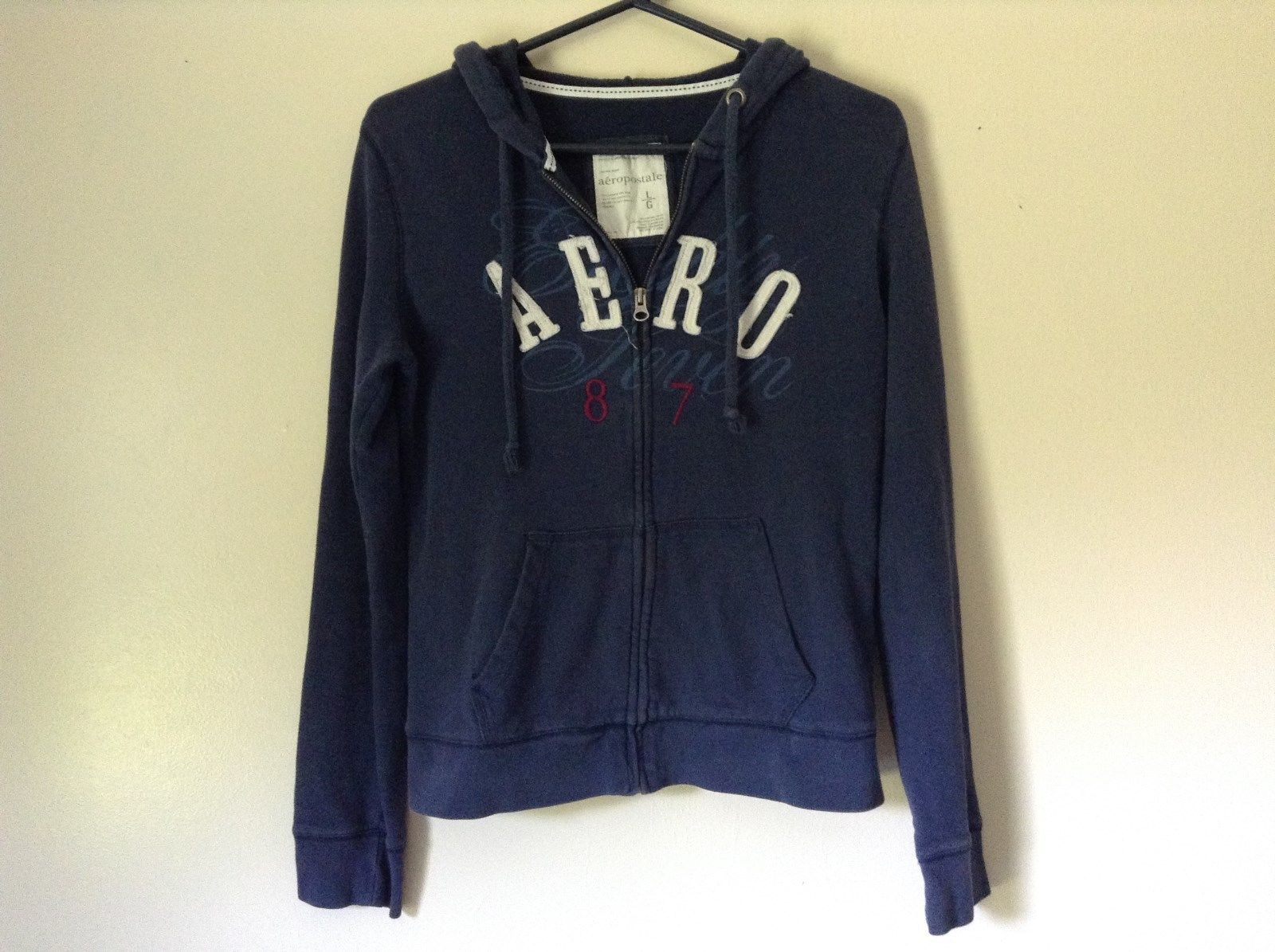 Navy Blue Hoodie Sweatshirt Aeropostale Zip Up Size Large