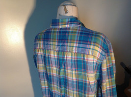 Aerie Plaid Button Down Long Sleeve Collared Shirt 2 Front Pockets Size Large image 6