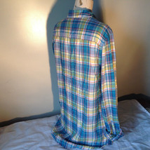 Aerie Plaid Button Down Long Sleeve Collared Shirt 2 Front Pockets Size Large image 5