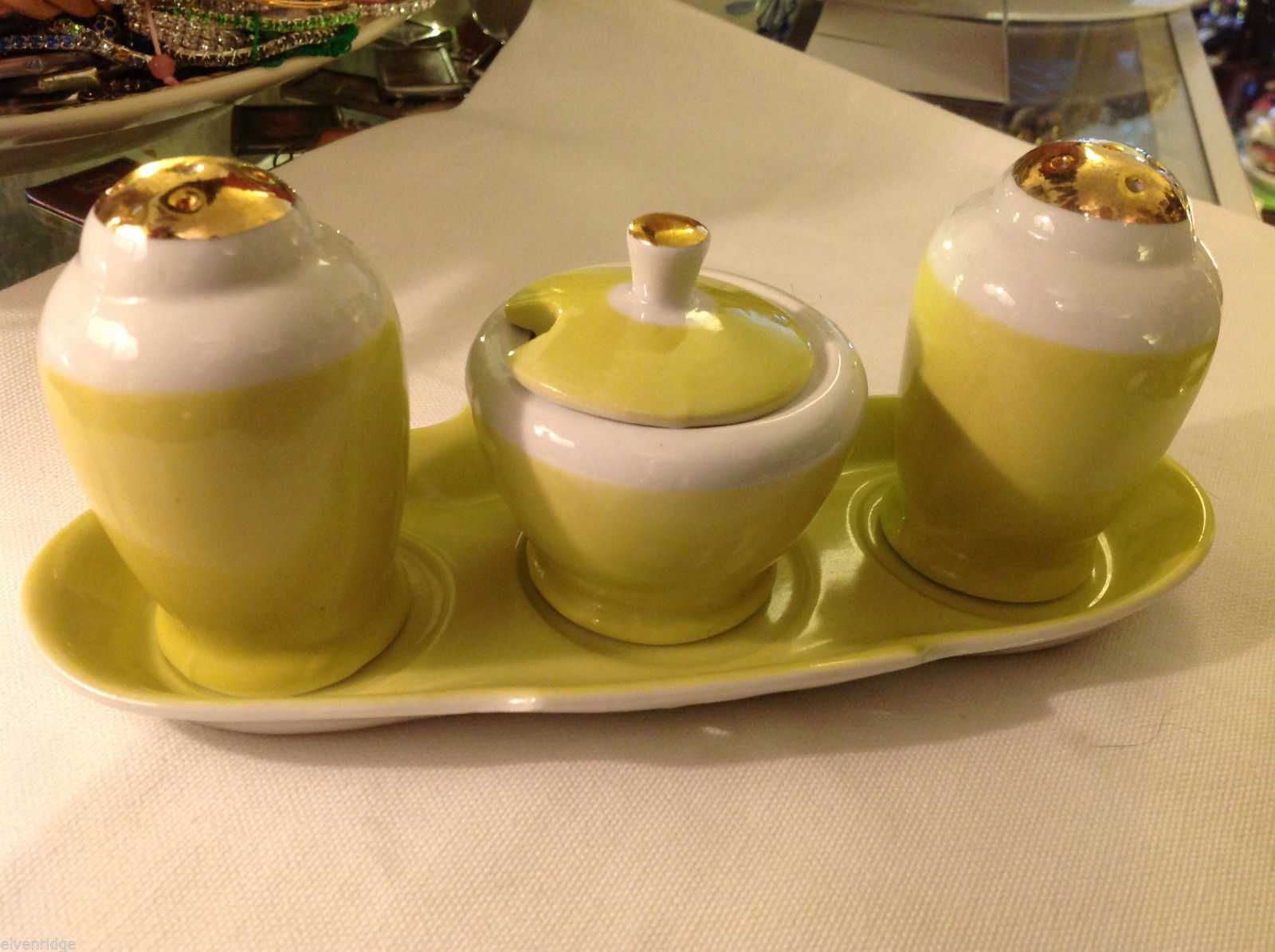 Lemon and Gold gilt delicate salt pepper sugar tea condiments set vintage