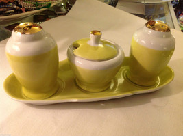 Lemon and Gold gilt delicate salt pepper sugar tea condiments set vintage image 1