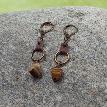 Leather Ring glass stone drop  Earrings