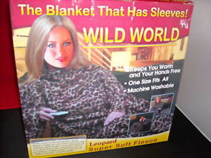Leopard Print  Adult Sofa Couch Blanket w sleeves NEW