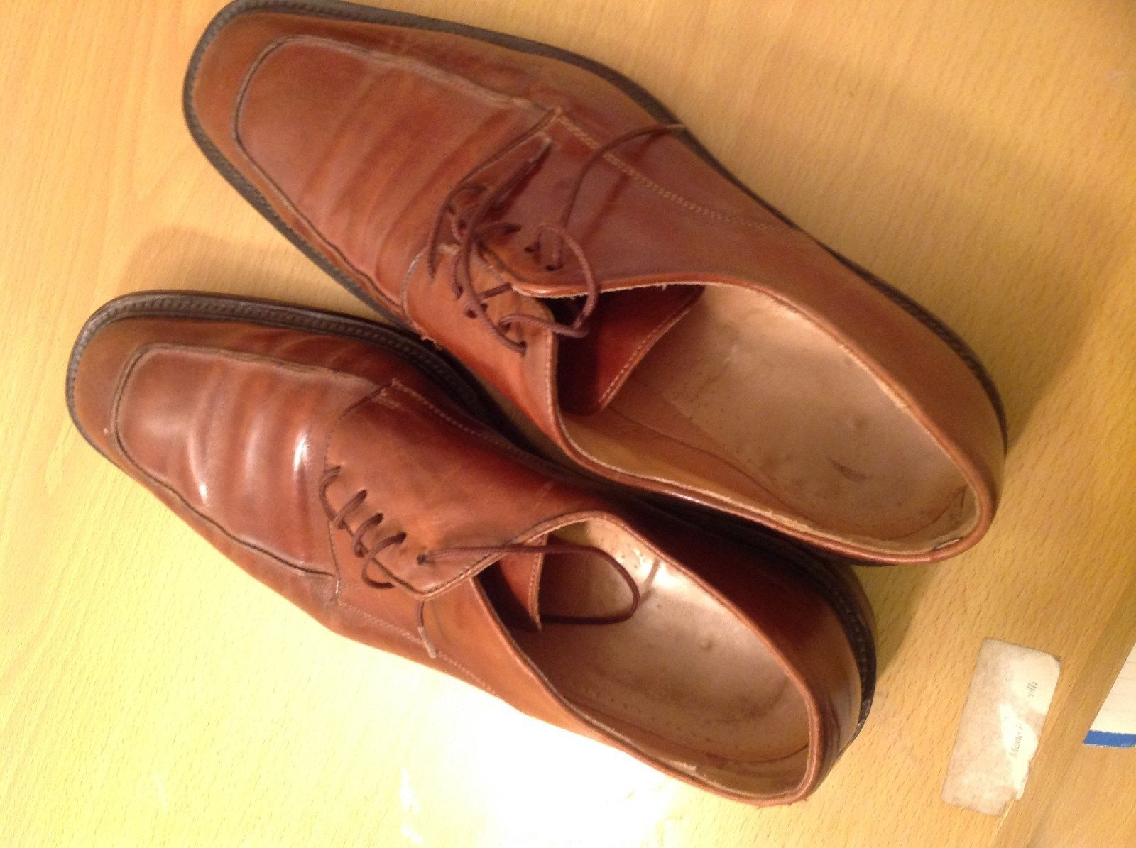 Leonardo Light Brown Leather Tie Dress Shoes Made In Italy Size 45 Europe