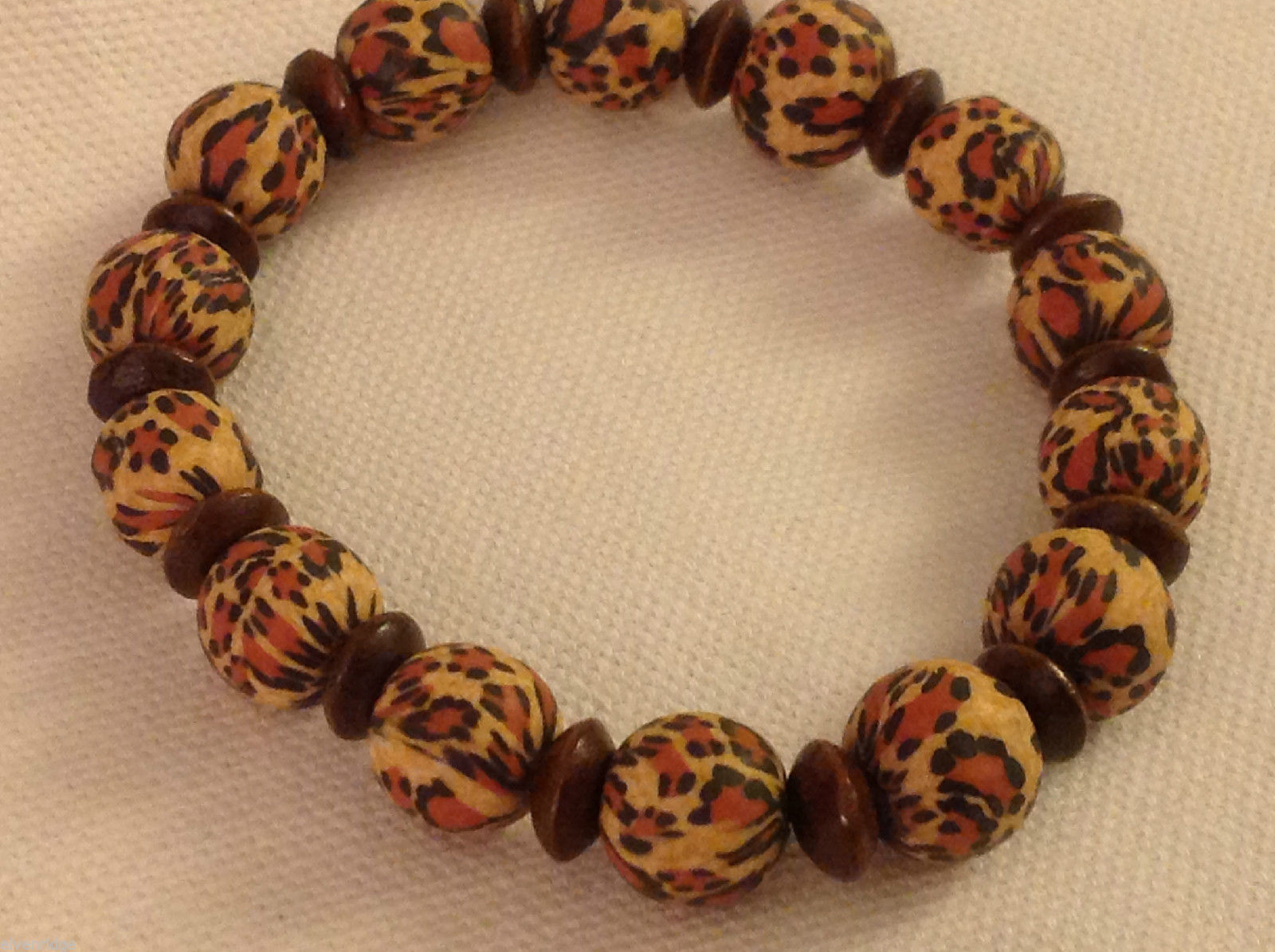 Leopard stripe stretchy bracelet with wood spacers made in USA