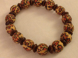 Leopard stripe stretchy bracelet with wood spacers made in USA image 1