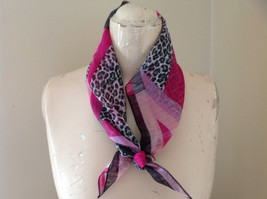 Leopard Print Pink Geometric Design Square Fashion Scarf Light Weight Material