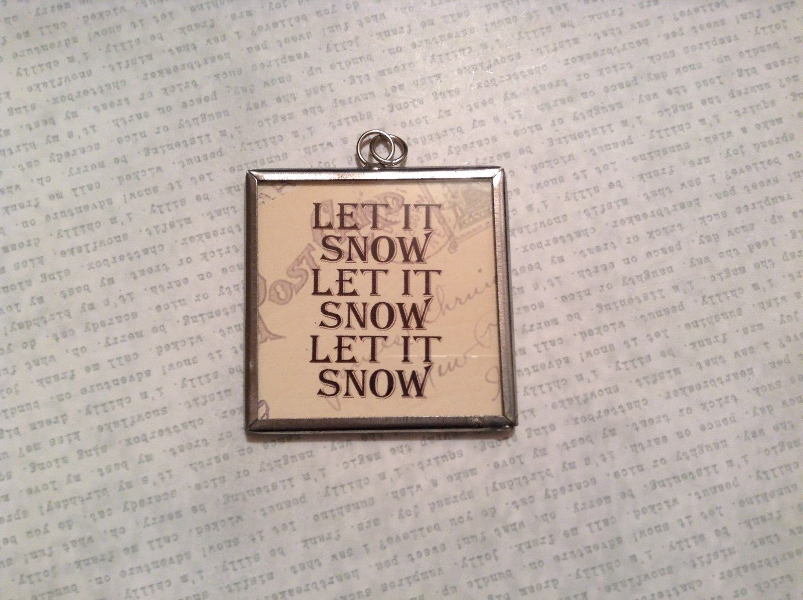 Let it Snow Charm Present Tie On Versatile Reversible Tag Metal Glass Tag