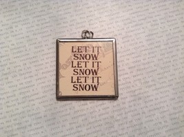 Let it Snow Charm Present Tie On Versatile Reversible Tag Metal Glass Tag image 1