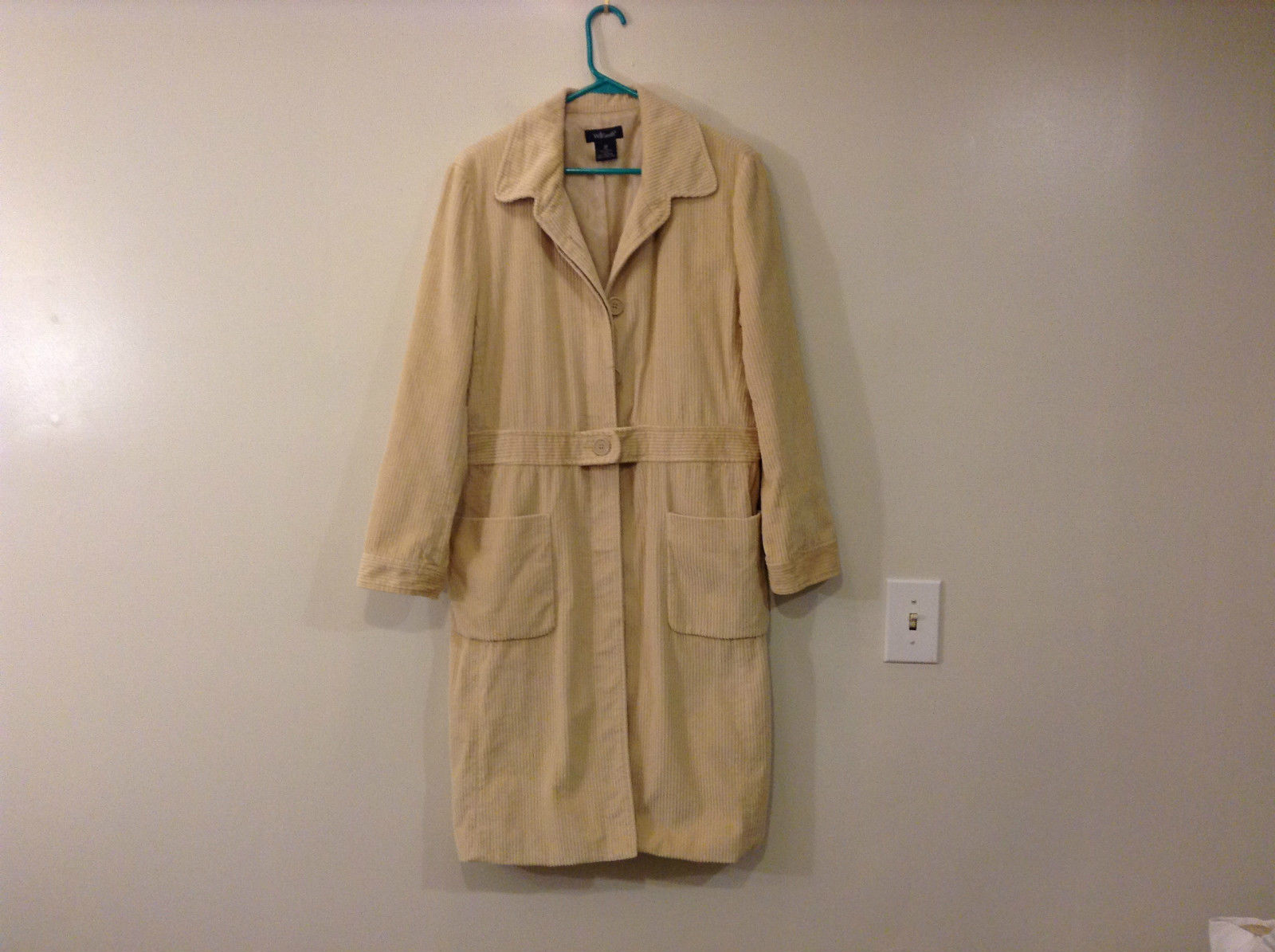 Light Beige Cream Fully Lined Willi Smith Light Coat sz 10 Buttons corduroy