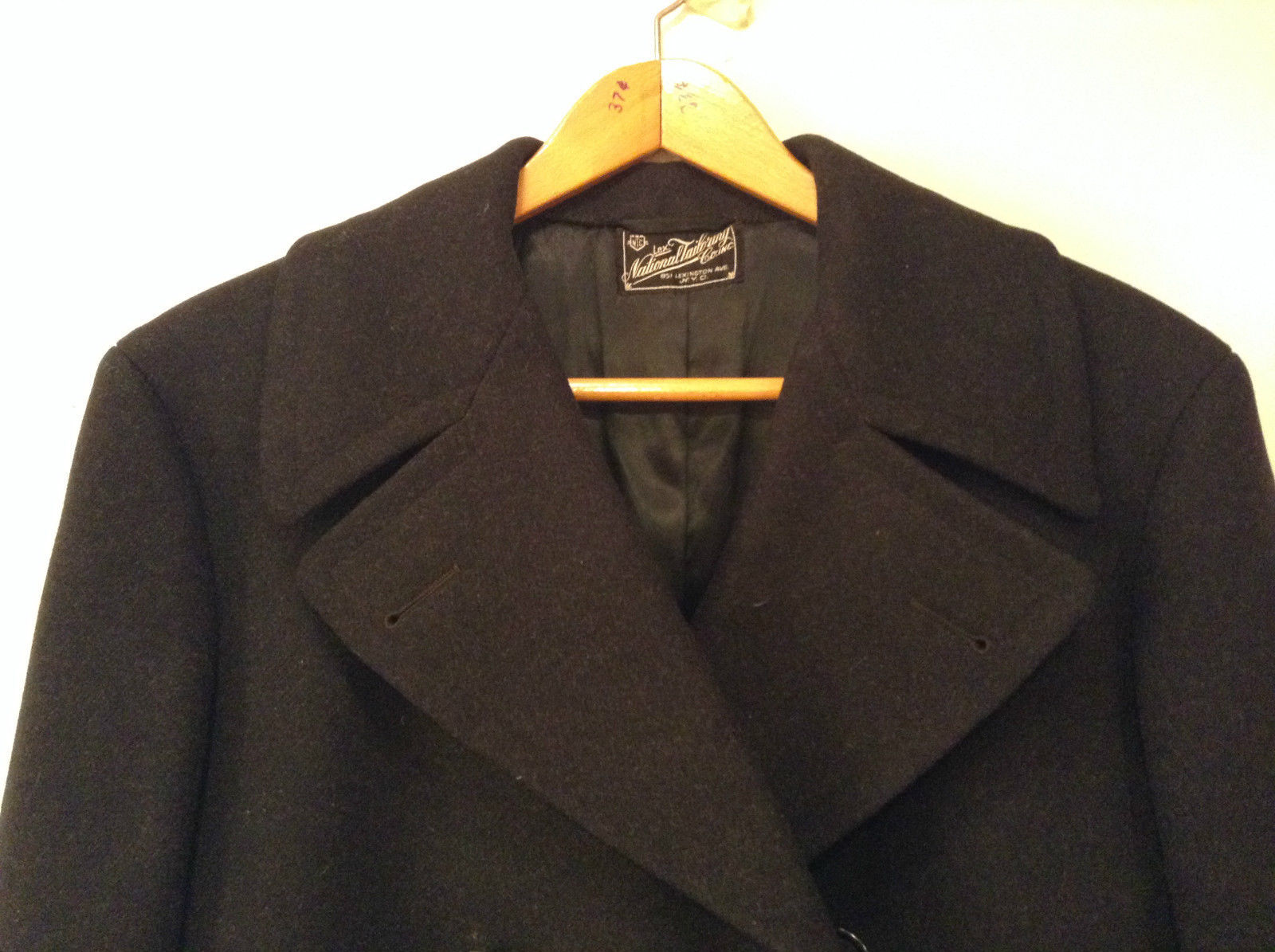 Lexington National Tailoring Company Black Vintage (1937) 100 Percent Wool Coat