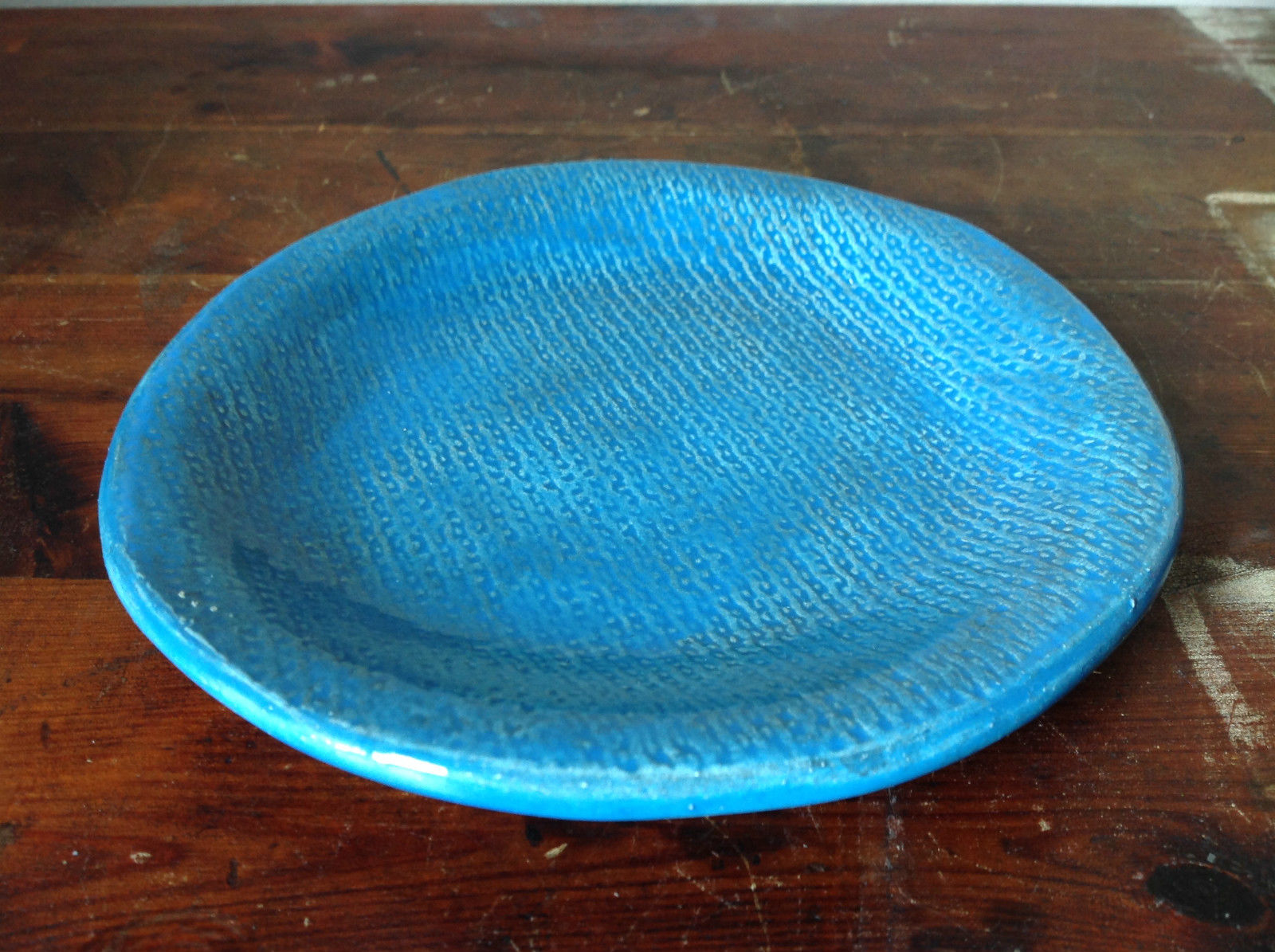 Light Blue Ceramic Artisan Handcrafted Plate Saucer